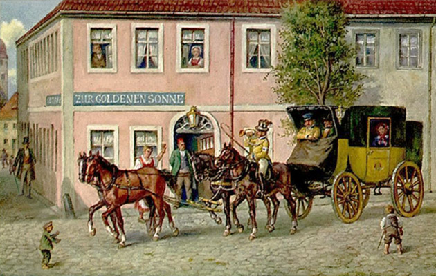 Gemälde: Vierspänner Postkutsche vor Gasthof