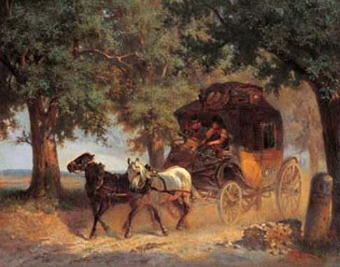 Gemälde: Postkutsche auf dem Lande