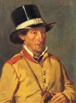 Gemälde: Postillion in gelber Uniform mit Zylinder und Posthorn