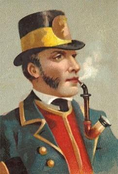 Farblitho: Langpfeife rauchender Postillion mit Zylinder
