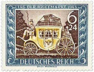 Briefmarke: Postkutsche mit vielen Koffern beladen im Wald