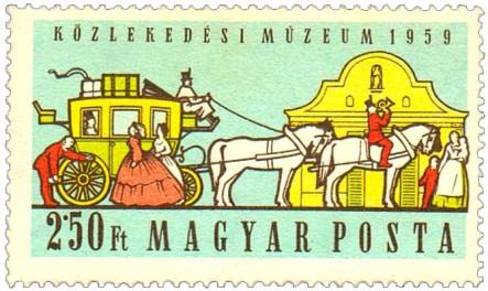 Briefmarke: Vierspänner-Personenpostkutsche