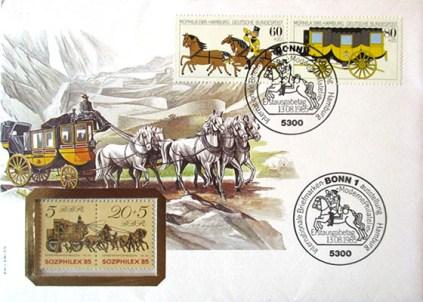 Ersttagsbrief: Briefumschlag mit gestempelten Briefmarken