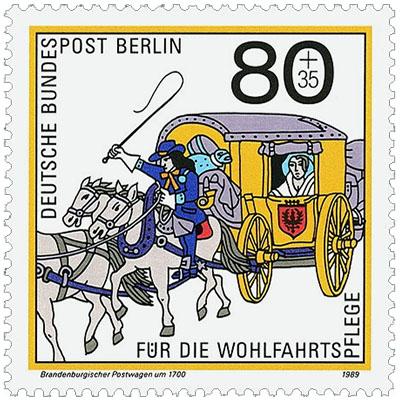 Briefmarke: Postillion mit Peitsche auf einem der Pferden vor Wagen reitend