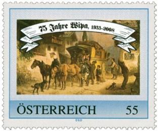Briefmarke: Postkutsche kommt in einem Dorf an