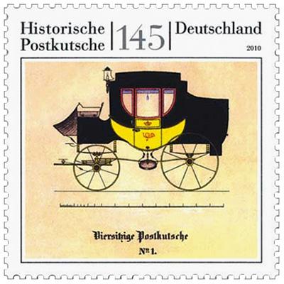 Briefmarke: historische gelb-schwarze Postkutsche