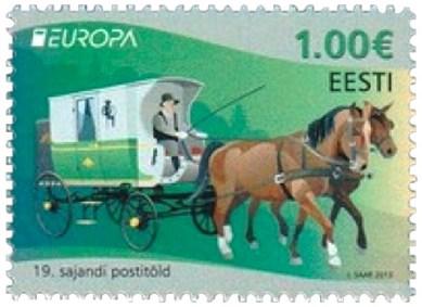 Briefmarke: grün-weiße Zweispänner Postkutsche