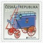 tschechische Briefmarke: historischer Kasten-Postwagen
