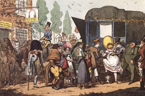 Cartoon: lustiges Gedränge vor Abfahrt der Postkutsche