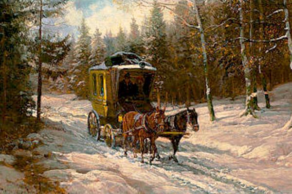 Gemälde: Zweispänner Postkutsche auf verschneitem Waldweg