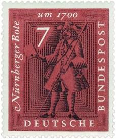 Briefmarke: Briefbote mit Spieß in einer und Brief in anderer Hand - 1700