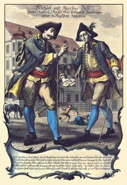 kolorierter Stahlstich + Text: Vater unterweist Sohn im Briefaustragen - 1755