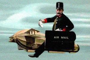 gemalte Postkarte: Briefträger sitzt mit Posttasche auf Fluggerät in der Luft - 1911
