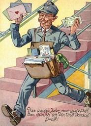 gemalte Karte: lachender Postbote im Treppenhaus - 1921