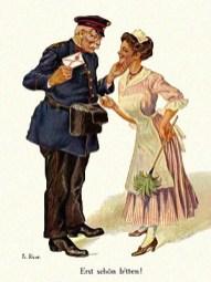 gemalte Postkarte: freundlicher älterer Postbote mit Liebesbrief hält Dienstmädel am Kinn - 1925