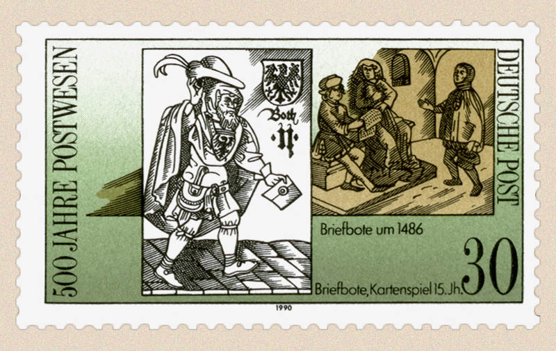 DBP-Briefmarke (1990): Both im 15. Jh + Briefbote um 1486