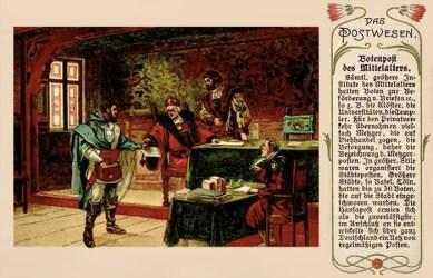 farbige Künstlerkarte: Bote nimmt in Schreibbüro zu befördernten Brief entgegen