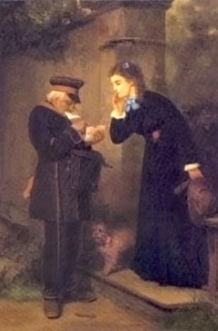 Gemälde: Postbote sucht für Lady unter Torbogen Brief aus einem Stapel heraus - 1880