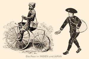 Zeichnung: Inder auf Holzfahrrad und Japaner zu Fuß unterwegs - 1890