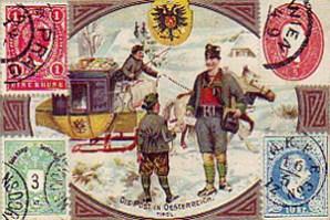 gemalte Karte: : Postbote übergibt Knaben einen Brief im Schnee; dahinter Schlittenpost - 1900