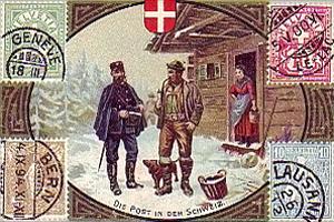 gemalte Karte: Postbote übergibt Mann einen Brief im Schnee vor Hütte - 1900