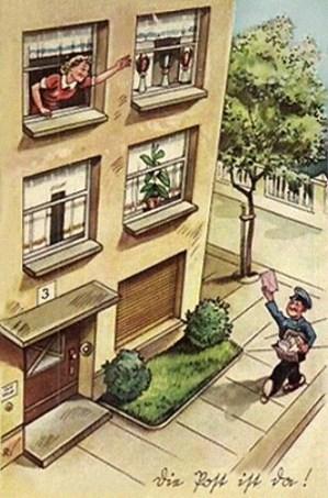 Farbpostkarte: Frau winkt aus oberem Fenster Postbote auf der Straße mit rosa Brief zu - 1940