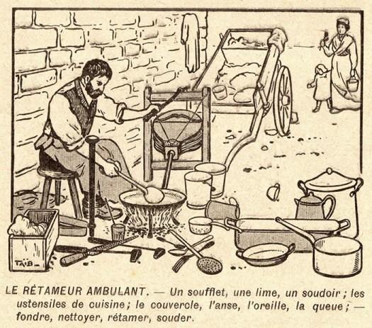 alte Illustration: mobiler Kesselflicker mit seinem Gerät