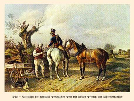 Farblitho: Postillion mit Pferden und Federviehhändler