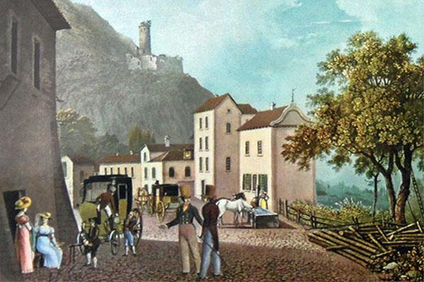 farbige Künstlerkarte: Reisende warten während Pferde versorgt und gewechselt werden