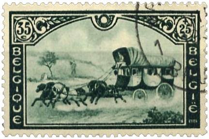 Briefmarke: Fünfspänner-Postkutsche mit drei Kabinen