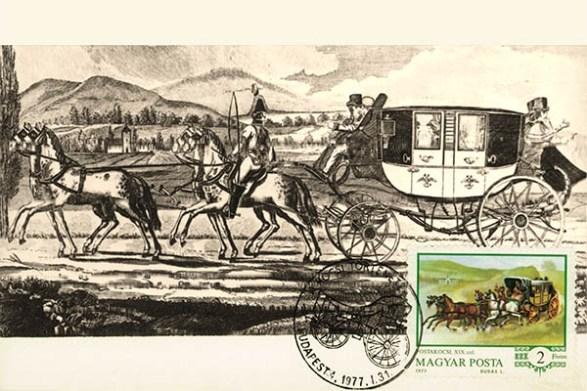 Bildkarte: Postkutsche mit Reisenden am Fluss