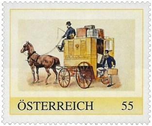 Briefmarke: Einspänner-Postwagen liefert Pakete aus