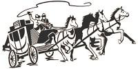 kl. sw Grafik: 4 Pferde im Galaopp mit Postkutsche