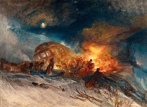 Gemälde: Postkutsche steckt im Schnee fest, Reisende wärmen sich am Feuer