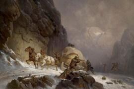 Gemälde: Postkutsche wird in Gebirgsschlucht von Räubern angegriffen