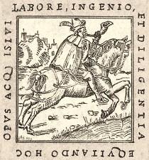 Holzschnitt: reitender Bote mit Posthorn - 1563, Italien