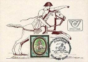 Briefumschlag: aufgedruckt ein römischer Reitbote + Briefmarke mit einem weiteren