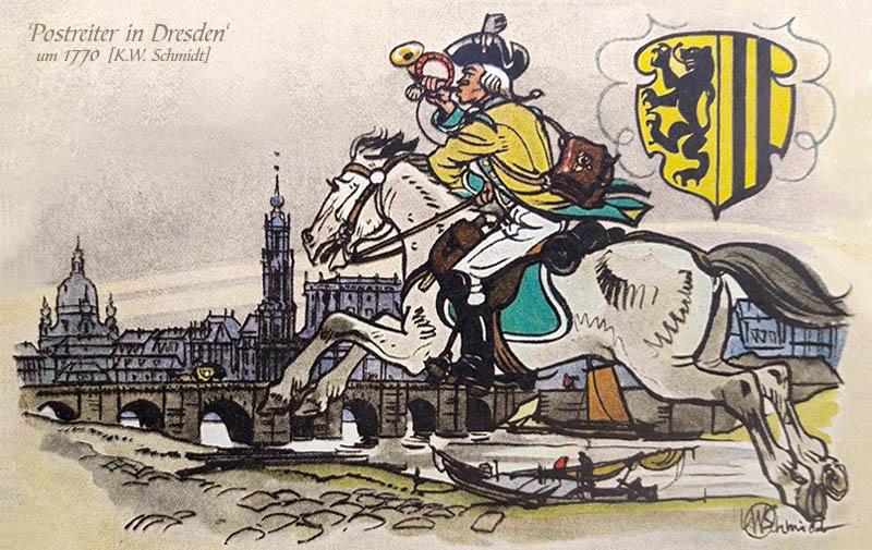 kolorierte Zeichnung: Reiter galoppiert am Elbufer das Horn blasend in die Stadt
