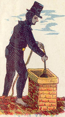 alte Illustration: Kaminkehrer lässt Kugel in den Schornstein hinab