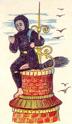 alte Illustration: Kaminfeger auf einer Turmspitze