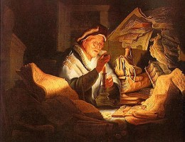 Gemälde: Wechsler zählt Münzen bei Kerzenschein