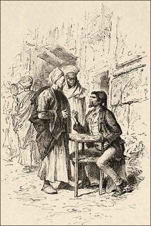 Zeichnung: auf Straße an kl. Tischchen sitzender Serraf verhandelt mit 2 Ägyptern - 1878
