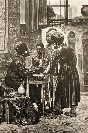 sw Gemäldefoto: 3 Männer diskutieren mit Straßen-Wechsler an dessen Tisch - 1884