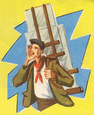 Buchillustration: Mann trägt auf einem Gestell Glasscheiben