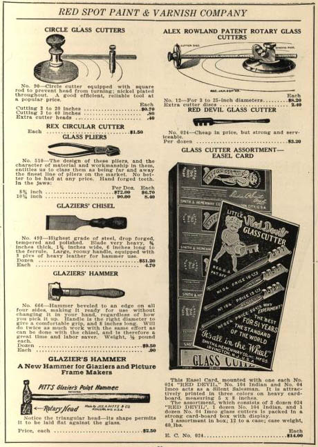 Katalogseite: verschiedene Glasschneider und andere Werkzeuge
