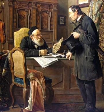 Gemälde: Pfandleiher nimmt goldenen Kerzenhalter eines Herrn unter die Lupe - 1886, Österr.