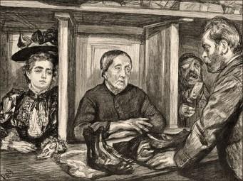 Zeichnung: Leute in Kabinen am Schalter einer Pfandleihe - 1894, Frankr.