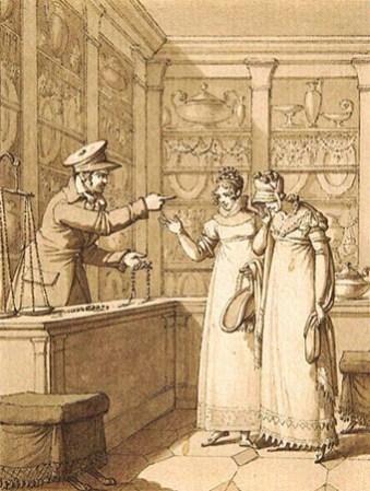 getuschte Zeichnung: 2 junge Damen verstezen Schmuck - 19. Jh