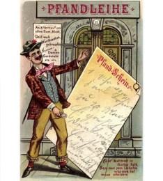 Humor-Postkarte: Herr mit übergroßem Pfandschein und Vers - 1902