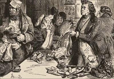 Zeichnung: Szene am Pfandhaus-Tresen - 1836, Engl.